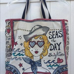Brighton canvas tote bag seas the day